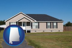 alabama map icon and a manufactured home