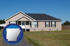 arkansas map icon and a manufactured home