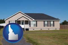 idaho map icon and a manufactured home