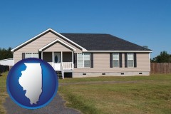 illinois map icon and a manufactured home