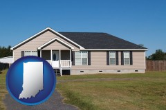 indiana map icon and a manufactured home