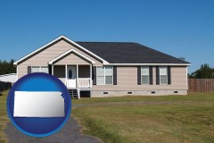 kansas map icon and a manufactured home
