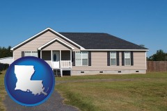 louisiana map icon and a manufactured home