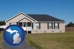 michigan map icon and a manufactured home