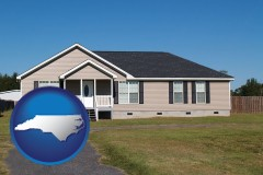 north-carolina map icon and a manufactured home