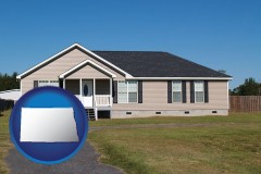 north-dakota map icon and a manufactured home