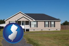 new-jersey map icon and a manufactured home