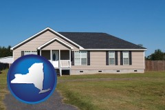new-york map icon and a manufactured home