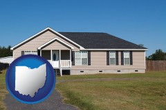 ohio map icon and a manufactured home
