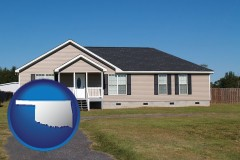 oklahoma map icon and a manufactured home