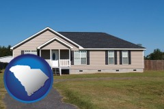 south-carolina map icon and a manufactured home