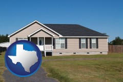texas map icon and a manufactured home