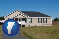 vermont map icon and a manufactured home