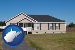west-virginia map icon and a manufactured home